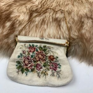 Vintage Hand Beaded Tapestry Clutch Night Bag